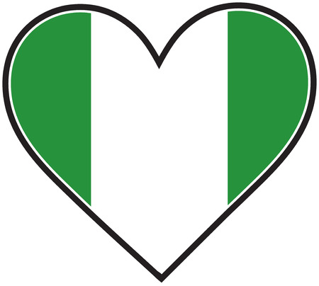 A heart with the Nigerian flag in it Stock Vector - 8739829