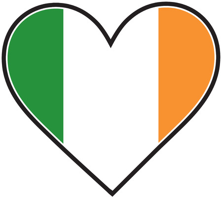 A heart with the Irish flag in it Vector