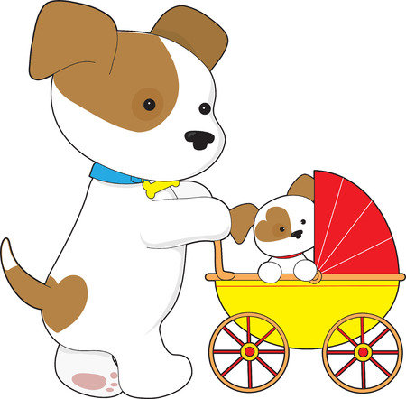 baby and mother: A cute mother dog is walking her puppy in a baby carriage