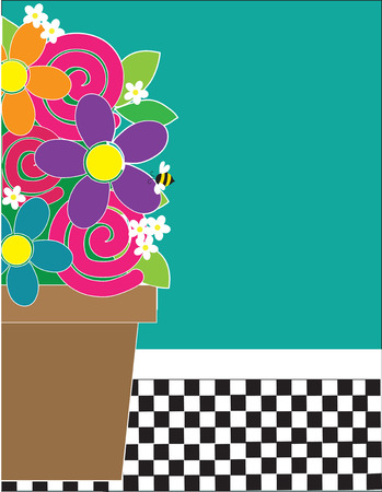 A frame or border featuring a terracotta pot full of flowers on a checkered floor. A bee is sitting on one of the flowers