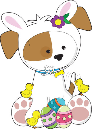 A cute puppy dressed like an Easter Bunny with little chicks and Easter eggs by its feet Иллюстрация