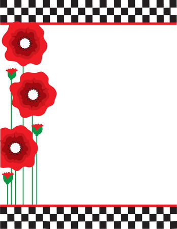A border or frame featuring red poppies with black and white checks Vector