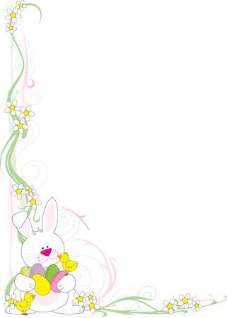 Een frame of een rand met een paashaas wit h kuikens en Easter eggs in de hoek