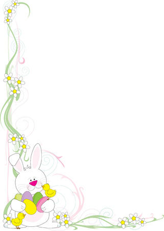 A frame or border featuring an Easter Bunny wit h chicks and Easter eggs in the corner Vettoriali
