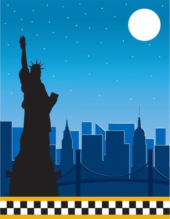 Rahmen oder Rahmen mit die Skyline von New York in der Nacht und eine Silhouette von der Statue of Liberty im Vordergrund.  Der unteren Rand ist das Checkerboard von New York City taxi   Illustration