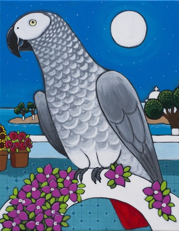 archway: An African Grey Parrot is sitting on an archway in Greece.