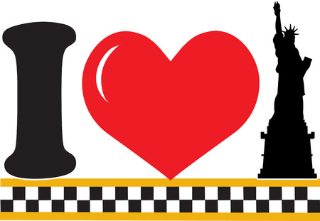 black cab: A design featuring a heart and the silhouette of the Statue of Liberty