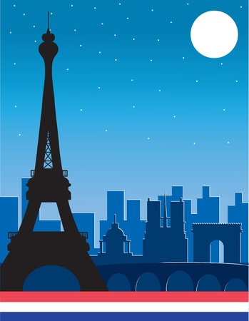 A silhouette of the Eiffel Tower with other famous Paris buildings in the background