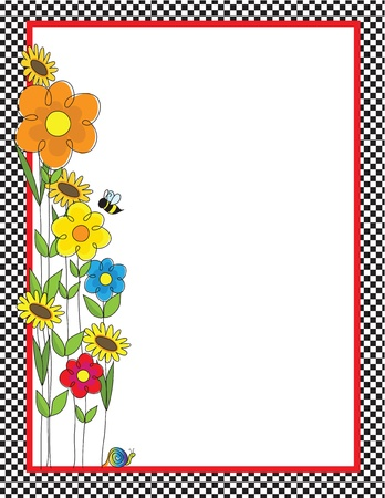 A black and white checkered border featuring a spring garden with a bee and a snail Vettoriali