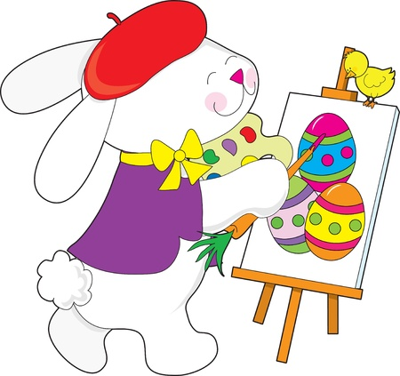 A bunny dressed as an artist is painting a portrait of Easter eggs. He is using a carrot for a brush