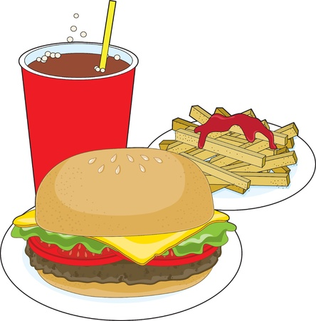 A hamburger, fries with ketchup,and a cola drink Illustration