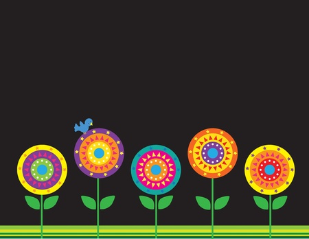 round: A group of stylized flowers on a black background
