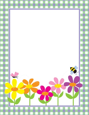 A border or frame featuring a row of colorful daisies, a butterfly and a bee Illustration