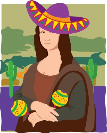 art painting: The Mona Lisa dressed in a Sombrero