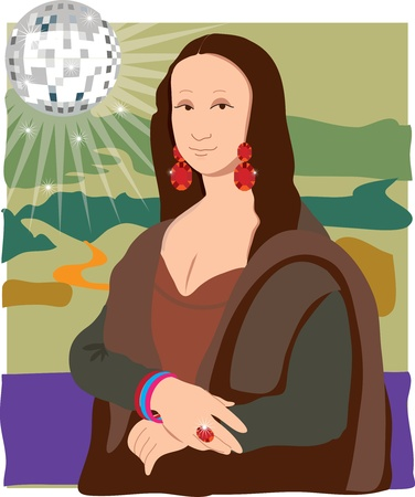 art painting: The Mona Lisa dressed as a Disco Lady