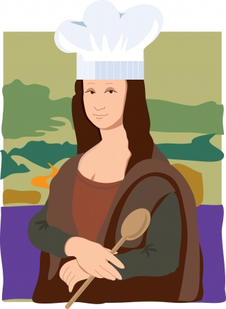 art painting: The Mona Lisa dressed as a chef