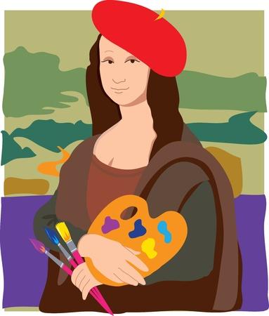 De Mona Lisa verkleed als een kunstenaar
