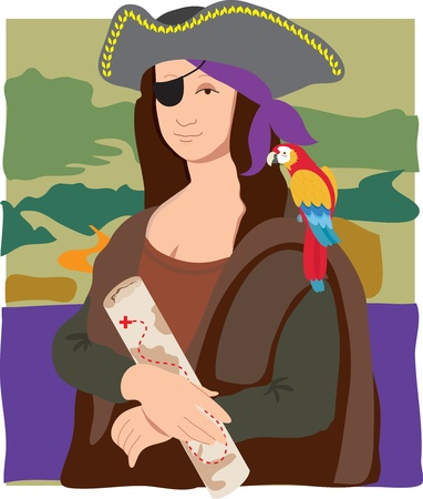The Mona Lisa dressed as a pirate with a parrot on her shoulder and a treasure map in her hand