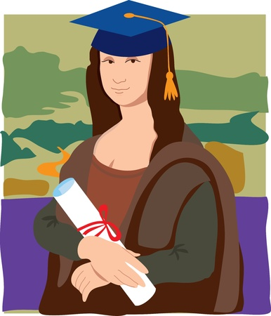 The Mona Lisa dressed as a student wearing mortar cap and holding a diploma