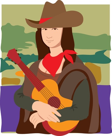 The Mona Lisa dressed as a cowgirl wearing a cowboy hat, a bandana and holding a guitar  Ilustração