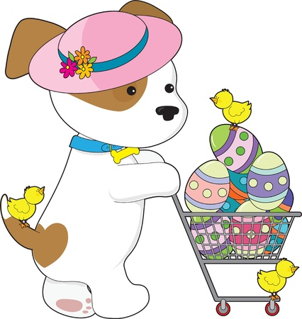 A cute puppy dog wearing a Spring hat is shoppin for Easter eggs - there are little chicks with her Vector