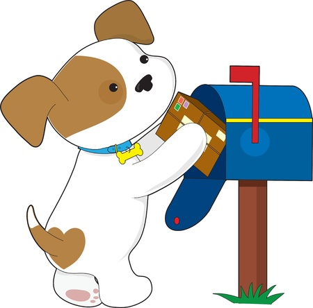A cute puppy is putting in or getting out a parcel from a mailbox