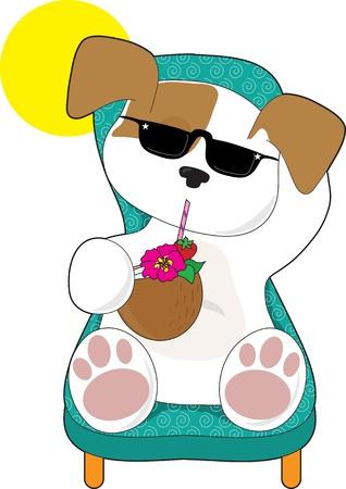 귀여운 강아지는 잔디의 자에 편안 하 고 열 대 음료를 즐기고있다 일러스트