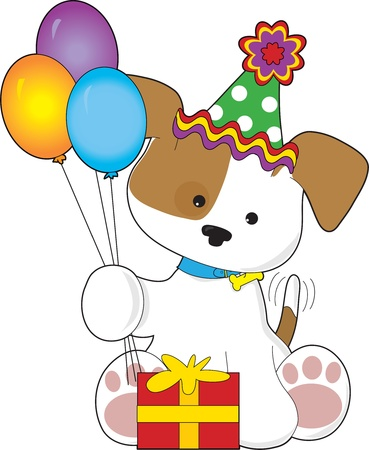 A cute puppy is holding balloons,looking at a present and wearing a birthday hat Ilustração