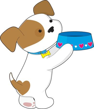 귀여운 강아지 그의 음식 접시를 들고이며 그것을 채워달라고 요구 일러스트