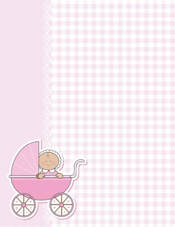 A background for the arrival of a new baby girl. Pink gingham and lace and a baby girl in a pink carriage are featured in this design