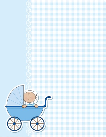 A background for the arrival of a new baby boy. Blue gingham and lace and a baby boy in a blue carriage are featured in this design