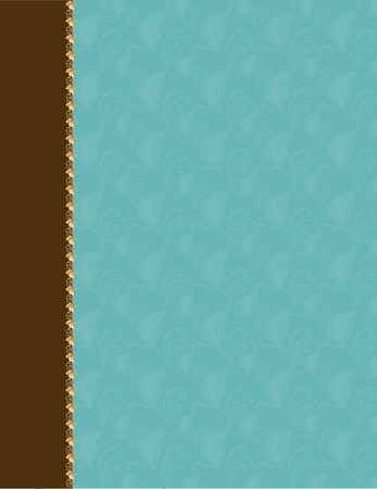 kahverengi: A patterned background for an invitation or letter - a thick brown border runs down the left side