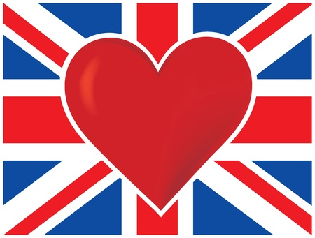 A  British flag with a big red heart in the center of it