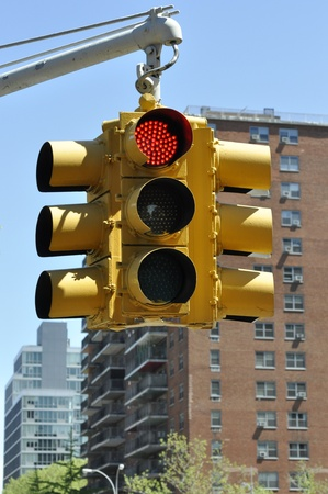 Stock photo of a traffic light - the light is red - in Manhattan photo