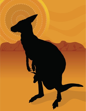 A silhouette of a kangaroo with her joey on a background of the outback with an aboriginal sun. Ilustracja