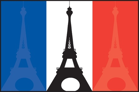 A French flag with silhouettes of the Eiffel Tower in each color  Illustration