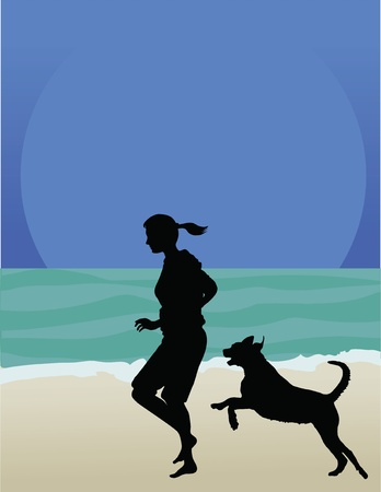 A woman and her dog are running along the beach