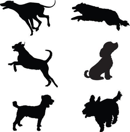 Sechs schwarze Silhouetten von Hunden zu spielen