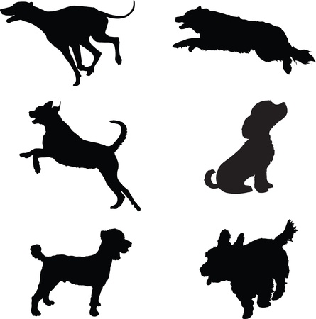 Six black silhouettes of dogs at play Illustration