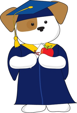 A cute puppy is dressed in a cap and gown for graduation. Holding a diploma and an apple