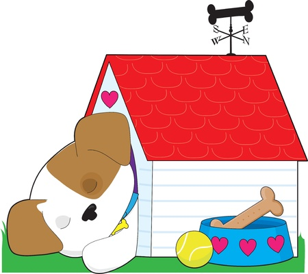 A cute puppy is sleeping in its dog house. The weathervane is shaped like a bone