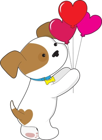 A cute mixed breed puppy is holding a bouquet of heart shaped balloons