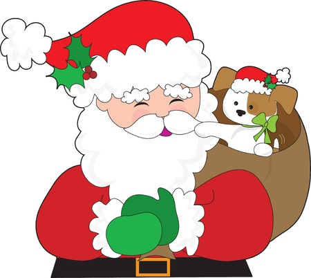 Santa Claus has a puppy in his sack.  The puppy is wearing a Santa hat too