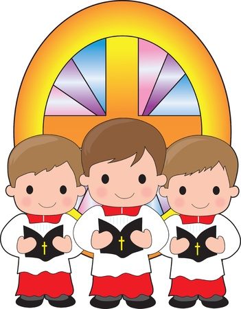 altar: A trio of altar boys are holding bibles and standing in front of a stained glass window Illustration