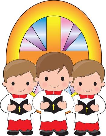 Un trio de garçons de l'autel tiennent des bibles et se tiennent devant un vitrail