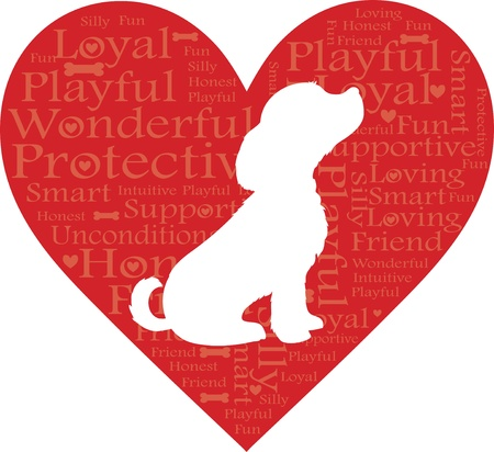A red heart with words describing a dog and a white dog silhouette Vettoriali