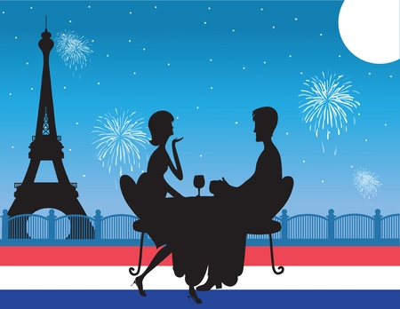 A silhouette of  a romantic couple drinking wine against a backdrop of the Eiffel Tower in Paris. Fireworks are exploding in the sky. The colors of the French flag are across the bottom