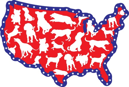 A map of the United States with silhouettes of different dog breeds on it Vector