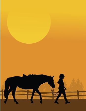 Eine Silhouette eines Kindes führt ihr Pferd gegen und Sonnenuntergang Hintergrund