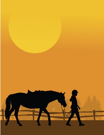 A silhouette of a child leading her horse against and sunset background Vettoriali